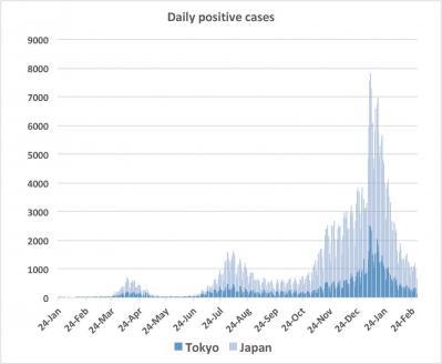 Nombre de cas positifs par jour